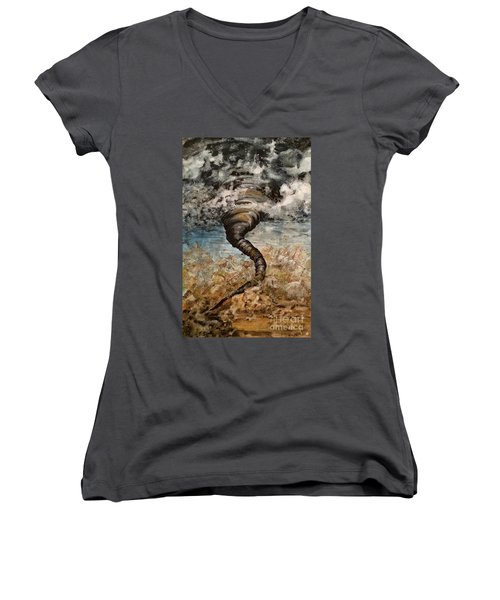 Twister On The Colorado Plains Women's V-Neck (Athletic Fit)