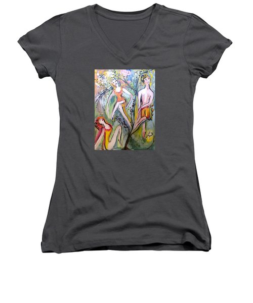 Twists And Turns Women's V-Neck T-Shirt (Junior Cut) by Judith Desrosiers