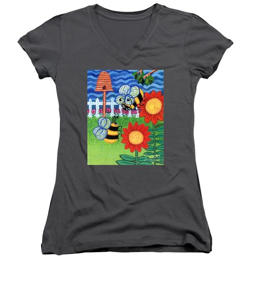 Two Bees With Red Flowers Women's V-Neck T-Shirt
