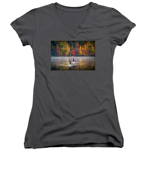 Two Canadian Geese Swimming In Autumn Women's V-Neck