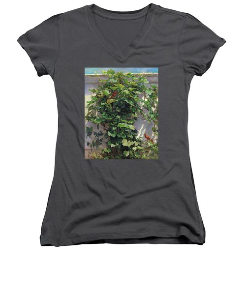 Women's V-Neck T-Shirt (Junior Cut) featuring the painting Two Cardinals On The Vine Tree by Svitozar Nenyuk