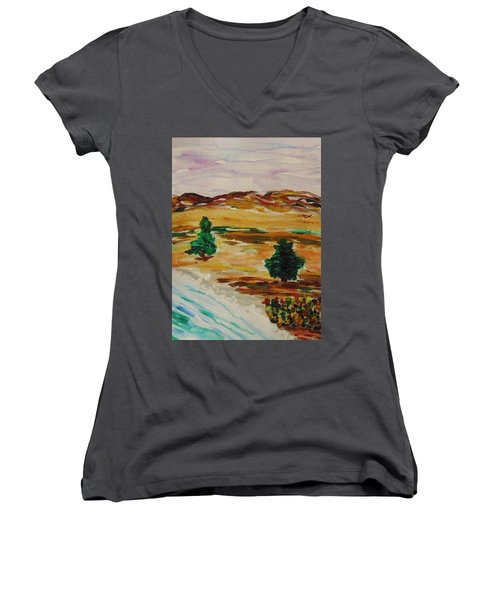 Two Cedars By The Sea Women's V-Neck T-Shirt