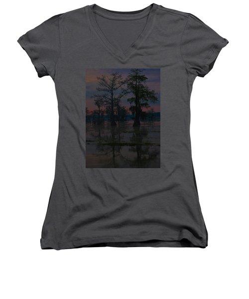 Two Cypress At Dawn Women's V-Neck T-Shirt (Junior Cut) by Kimo Fernandez