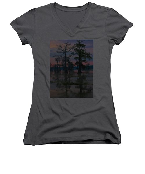 Two Cypress At Dawn Women's V-Neck T-Shirt