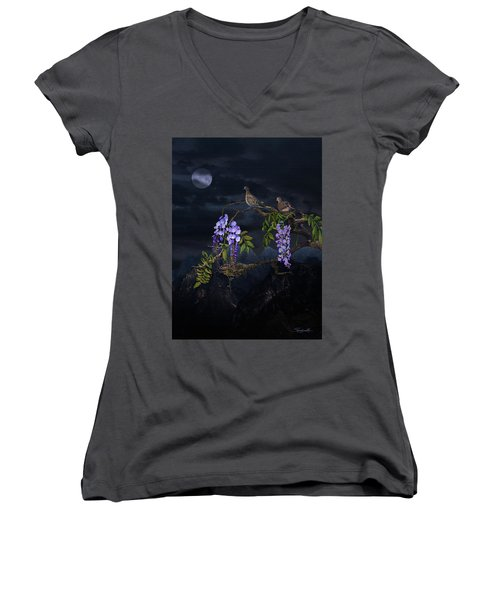 Mourning Doves In Moonlight Women's V-Neck (Athletic Fit)