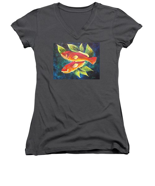 Two Fish Women's V-Neck (Athletic Fit)