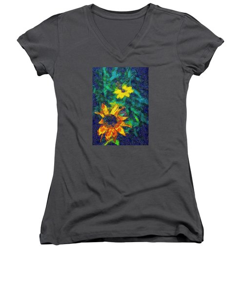 Two Flowers Women's V-Neck T-Shirt (Junior Cut) by Carlee Ojeda