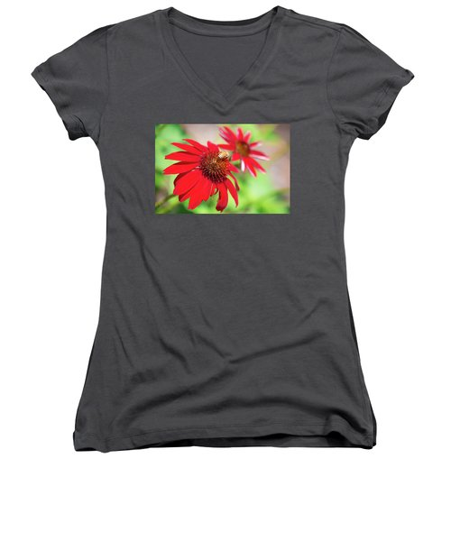 Women's V-Neck featuring the photograph Two Flowers For Every Bee by Brian Hale