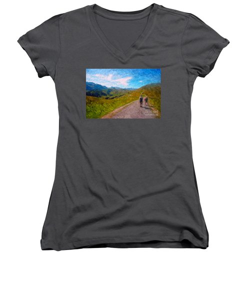 Two Hikers In Adelboden Women's V-Neck T-Shirt (Junior Cut) by Gerhardt Isringhaus