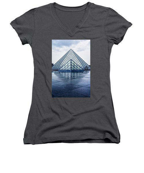 Two Louvre Pyramids Paris Women's V-Neck T-Shirt
