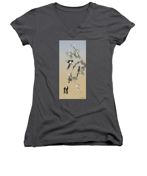 Two Magpies                       Women's V-Neck (Athletic Fit)