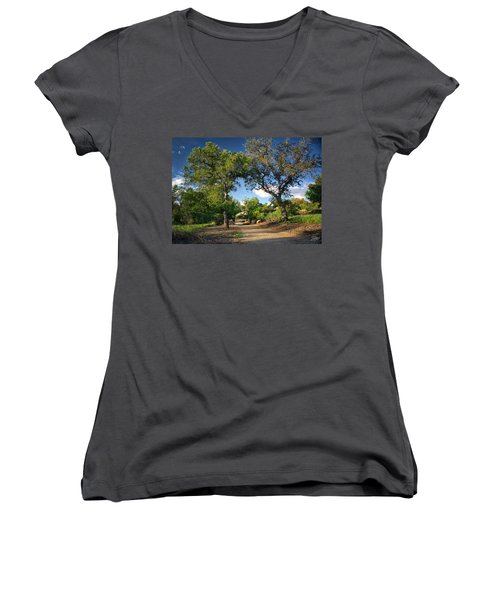 Two Old Oak Trees Women's V-Neck T-Shirt (Junior Cut) by Endre Balogh