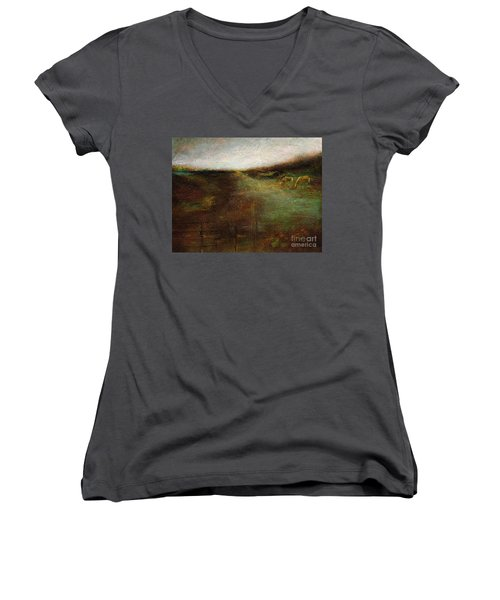 Two Palominos Women's V-Neck T-Shirt (Junior Cut) by Frances Marino