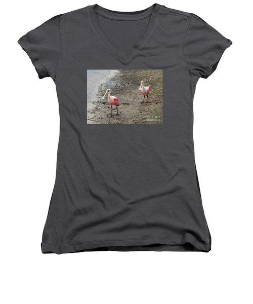 Two Roseate Spoonbills 2 Women's V-Neck T-Shirt (Junior Cut) by Carol Groenen
