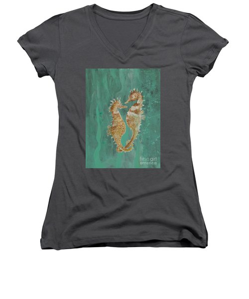 Two Seahorse Lovers Women's V-Neck T-Shirt