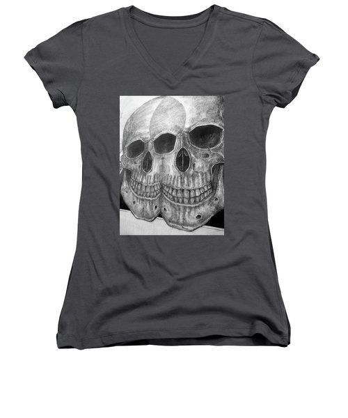 Women's V-Neck T-Shirt (Junior Cut) featuring the photograph Two Skulls ... by Juergen Weiss