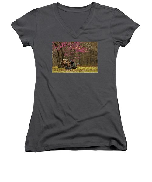 Two Tom Turkey And Redbud Tree Women's V-Neck (Athletic Fit)