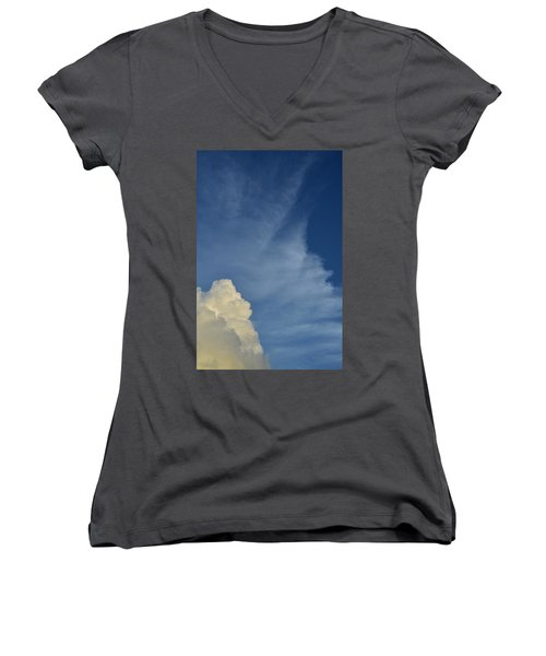 Two Tone Clouds 9384 Women's V-Neck T-Shirt