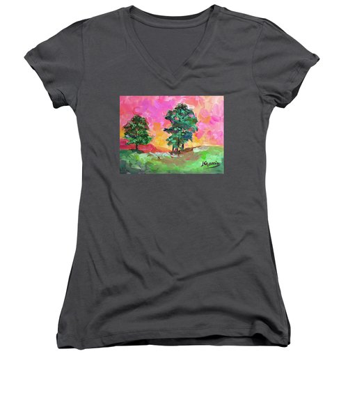 Two Trees Women's V-Neck T-Shirt (Junior Cut) by Janet Garcia