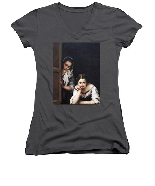 Women's V-Neck T-Shirt (Junior Cut) featuring the painting Two Women At Window by Pg Reproductions