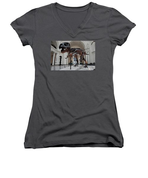Women's V-Neck T-Shirt (Junior Cut) featuring the digital art Tyrannosaurus Rex Sue - Chicago by Daniel Hagerman