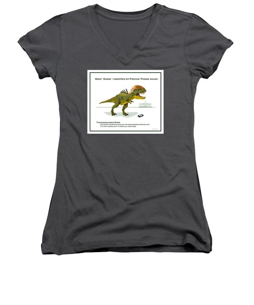 Tyrannosaurus Rump Women's V-Neck (Athletic Fit)
