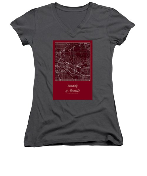 U Of M Street Map - University Of Minnesota Minneapolis Map Women's V-Neck (Athletic Fit)