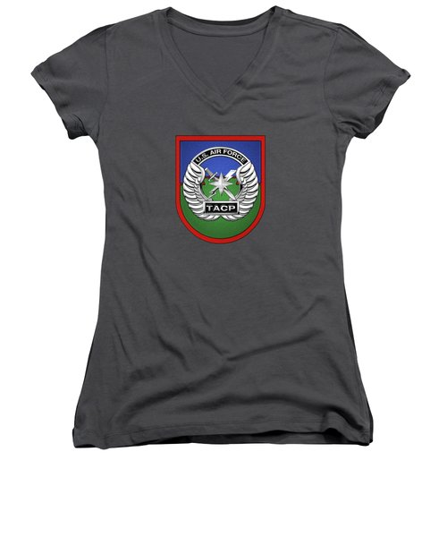 Women's V-Neck T-Shirt (Junior Cut) featuring the digital art U. S.  Air Force Tactical Air Control Party -  T A C P  Beret Flash With Crest Over Blue Velvet by Serge Averbukh
