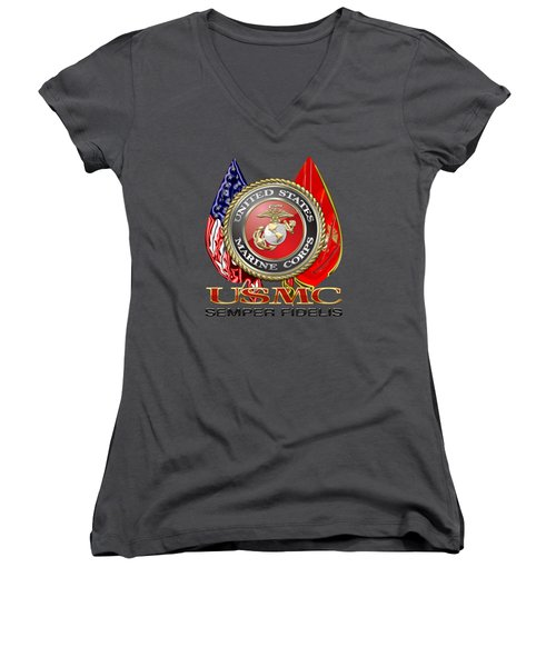 U. S. Marine Corps U S M C Emblem On Red Women's V-Neck T-Shirt (Junior Cut) by Serge Averbukh