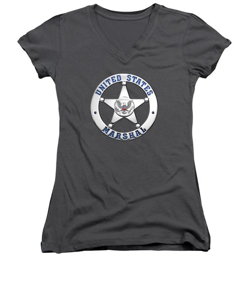 Women's V-Neck T-Shirt (Junior Cut) featuring the digital art U. S. Marshals Service  -  U S M S  Badge Over Blue Velvet by Serge Averbukh