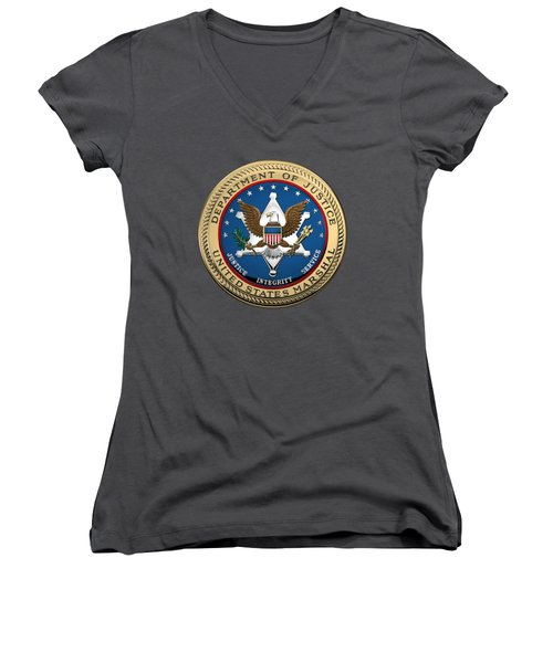 Women's V-Neck T-Shirt (Junior Cut) featuring the digital art U. S.  Marshals Service -  U S M S  Seal Over Blue Velvet by Serge Averbukh