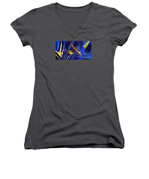 Women's V-Neck T-Shirt (Junior Cut) featuring the painting UFO by Arturas Slapsys