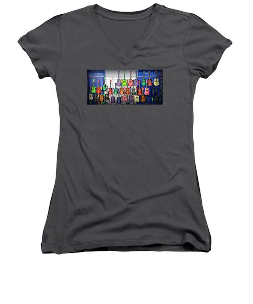 Women's V-Neck T-Shirt (Junior Cut) featuring the photograph Ukuleles At The Fair by Lori Seaman