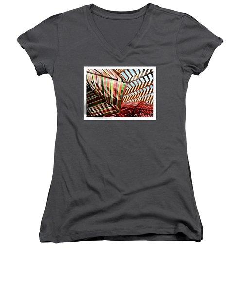 Umbrella Stipple Women's V-Neck T-Shirt (Junior Cut) by Deborah Nakano