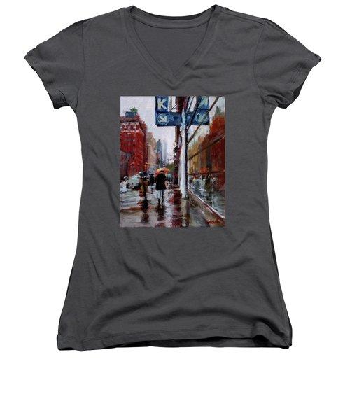 Umbrellas On Amsterdam Aveune Women's V-Neck T-Shirt