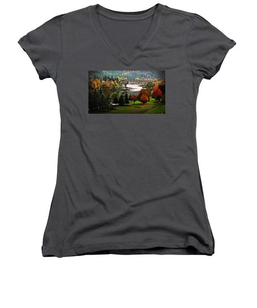 Umpqua Bridge In The Fall Women's V-Neck T-Shirt (Junior Cut) by Katie Wing Vigil
