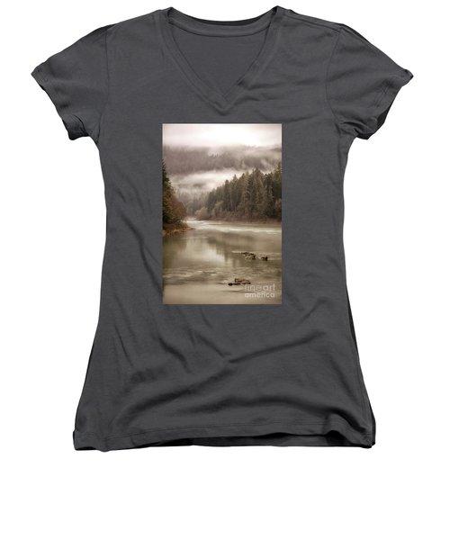 Umpqua River Fog Women's V-Neck