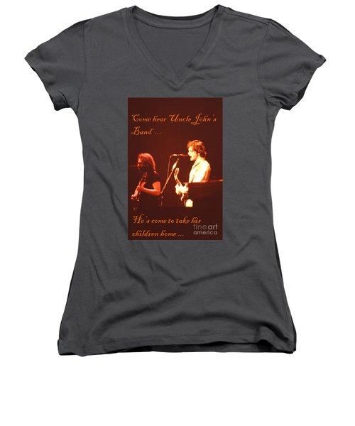 Come Hear Uncle John's Band Women's V-Neck T-Shirt (Junior Cut) by Susan Carella