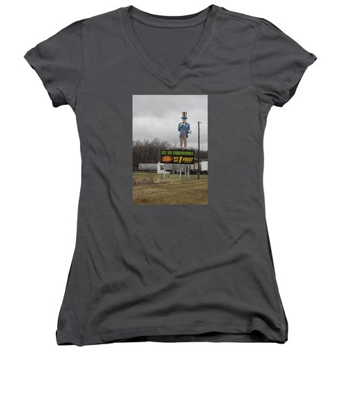 Uncle Sams Fireworks Women's V-Neck T-Shirt (Junior Cut) by Suzanne Gaff
