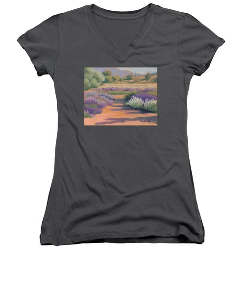 Under A Summer Sun In Lavender Fields Women's V-Neck (Athletic Fit)