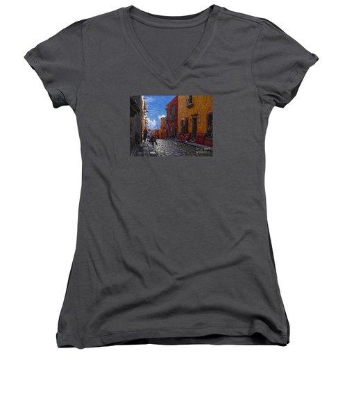 Women's V-Neck T-Shirt (Junior Cut) featuring the photograph Under A Van Gogh Sky by John Kolenberg