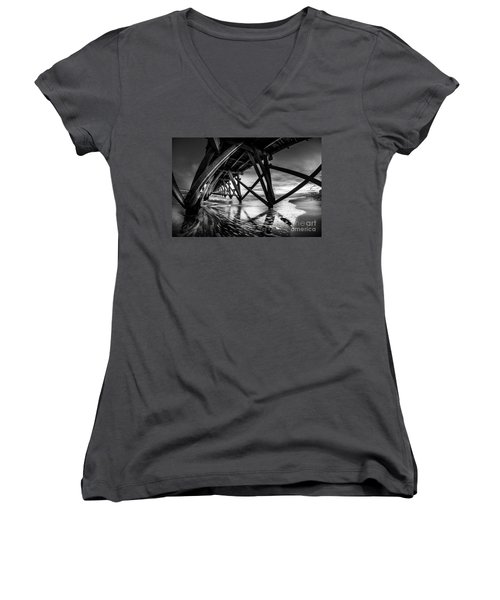 Under Sea Cabin Pier At Sunset Women's V-Neck (Athletic Fit)