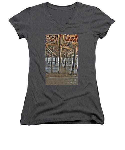 Women's V-Neck T-Shirt (Junior Cut) featuring the photograph Under The Boardwalk Pier Sunbeams  by David Zanzinger
