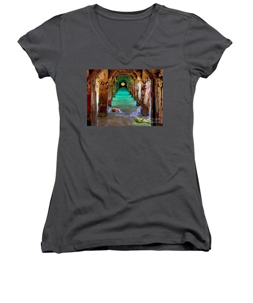 Women's V-Neck T-Shirt (Junior Cut) featuring the painting Under The Broadwalk by Mojo Mendiola