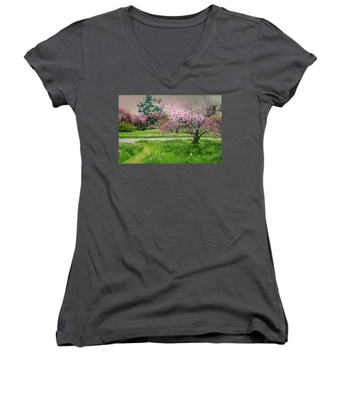 Women's V-Neck T-Shirt (Junior Cut) featuring the photograph Under The Cherry Tree by Diana Angstadt