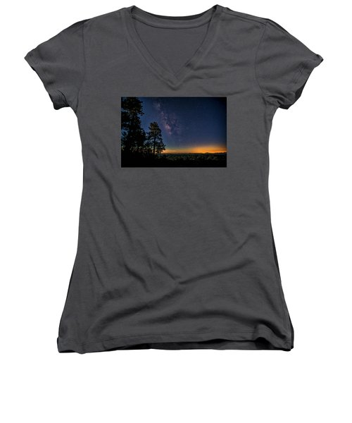 Women's V-Neck T-Shirt featuring the photograph Under The Milky Way  by Saija Lehtonen