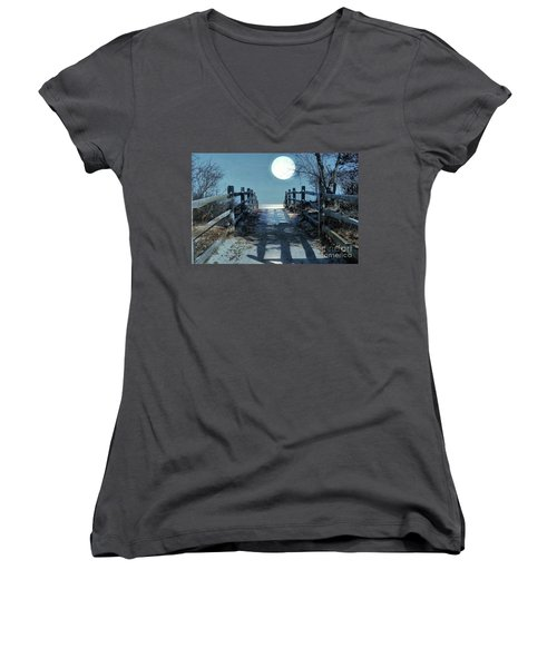 Under The Moonbeams Women's V-Neck (Athletic Fit)
