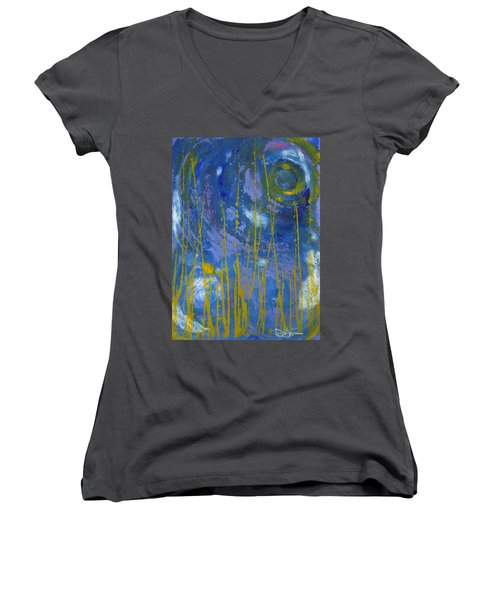 Women's V-Neck T-Shirt (Junior Cut) featuring the photograph Under The Ocean by Rachel Hames