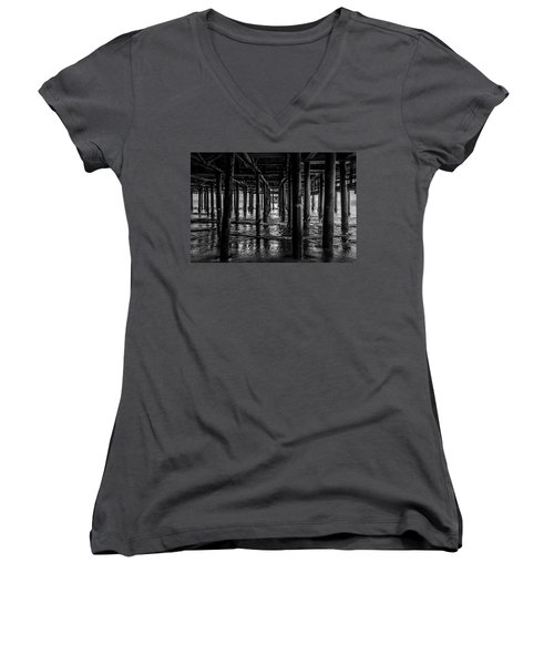 Under The Pier - Black And White Women's V-Neck (Athletic Fit)