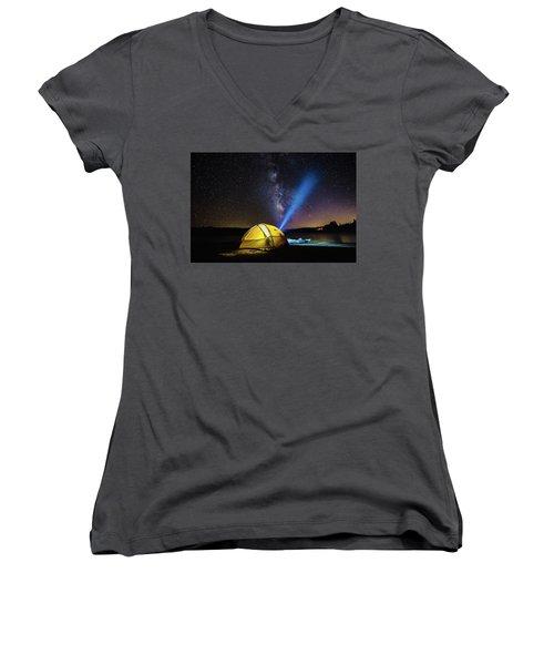 Under The Stars Women's V-Neck T-Shirt (Junior Cut) by Alpha Wanderlust
